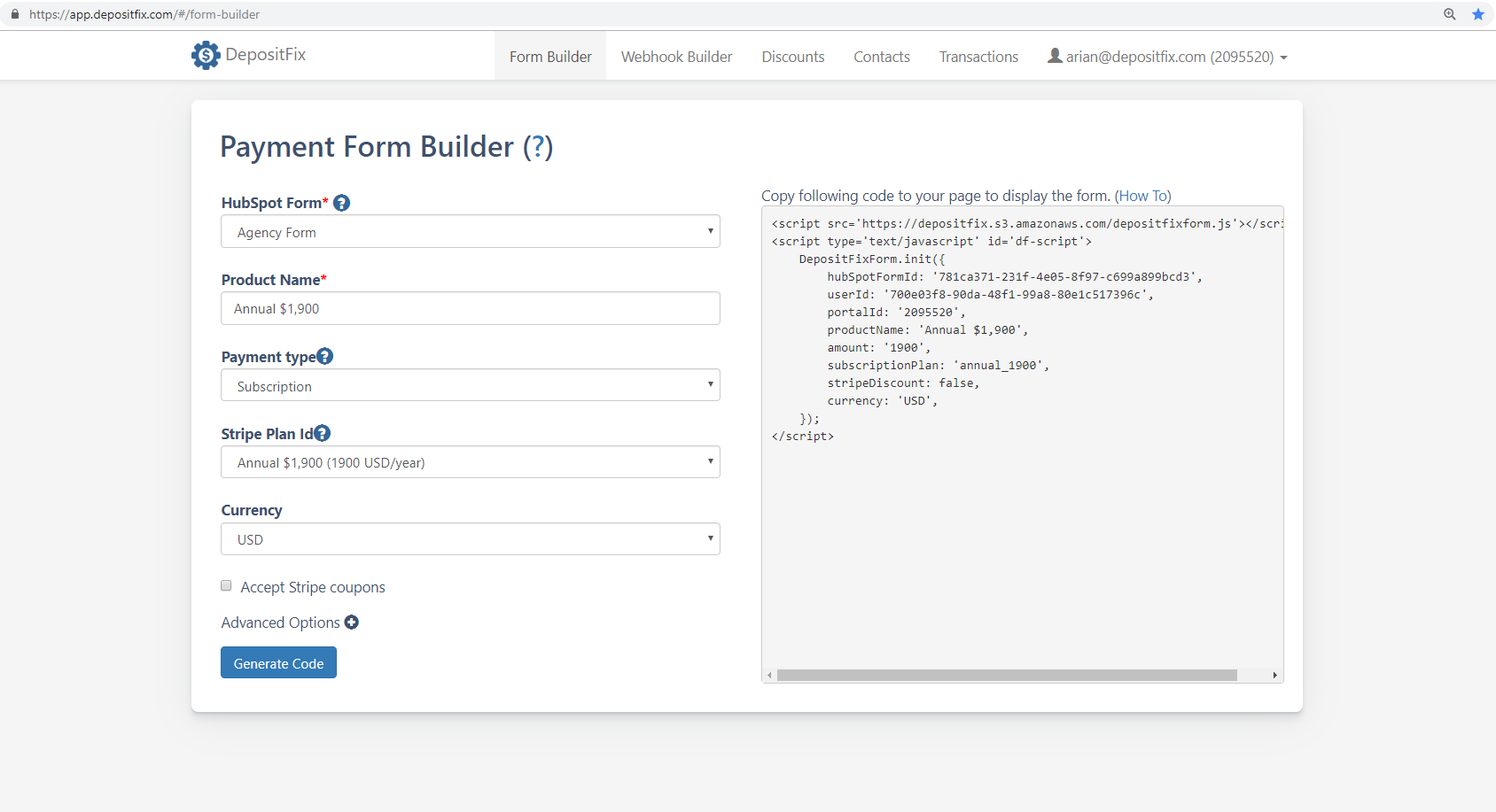 Depositfix - 4  Using Payment Form Builder