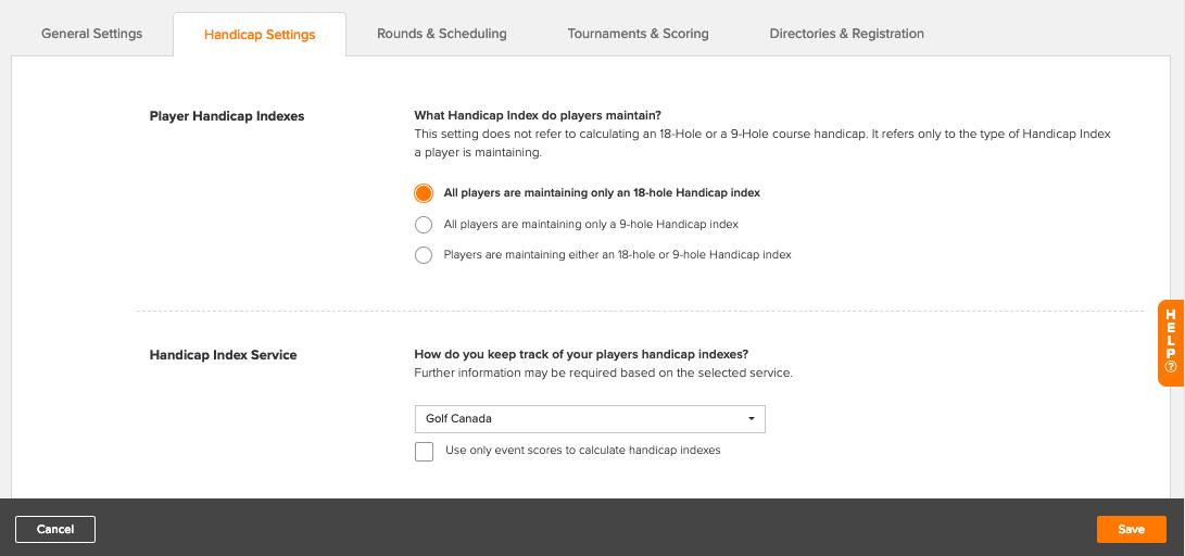 Golfgenius - Event/League Profile - Handicap Settings