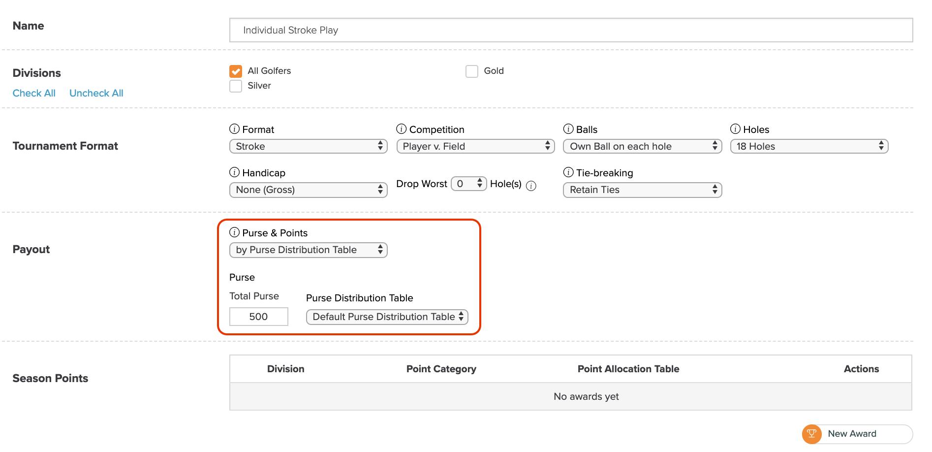 Golfgenius - Purse Distribution Tables