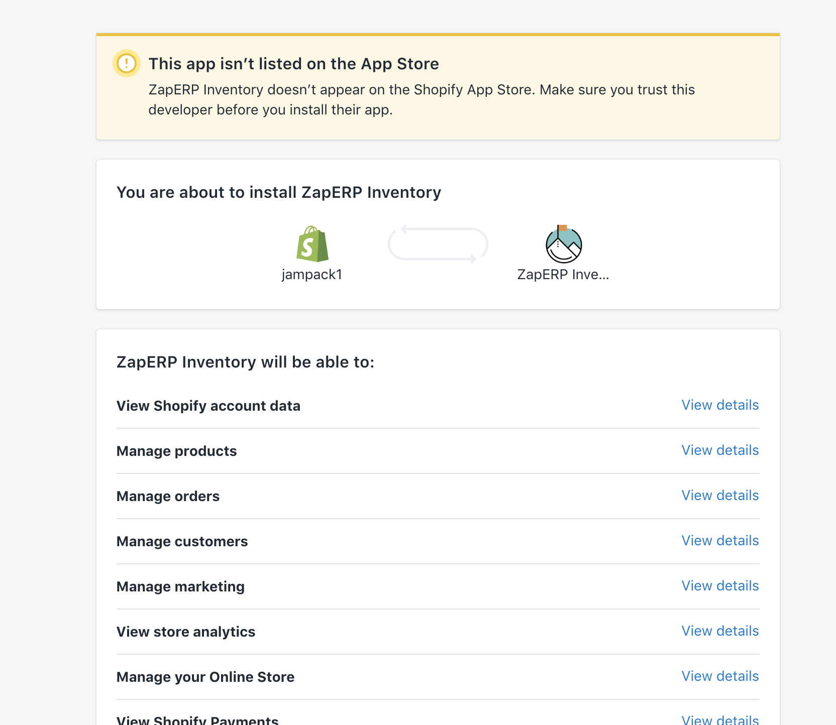 ZapERP - Connect Shopify Store
